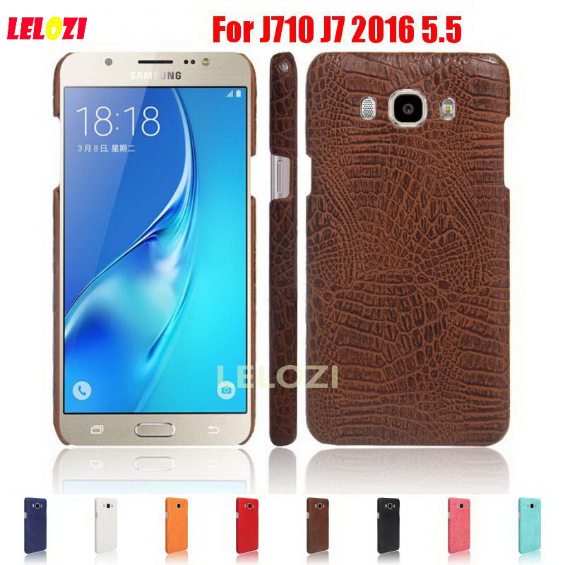 LELOZI Crocodile Snake Pattern Hard PC PU Leather Phone Etui Coque Case carcasa For Samsung Galaxy J710 J7 2016 5.5 SM-J7109