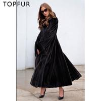 TOPFUR новый роскошный настоящий природный норковая шуба для Для женщин зимние толстые Меховая куртка черный Цвет 130 см X длинные норковая шуба