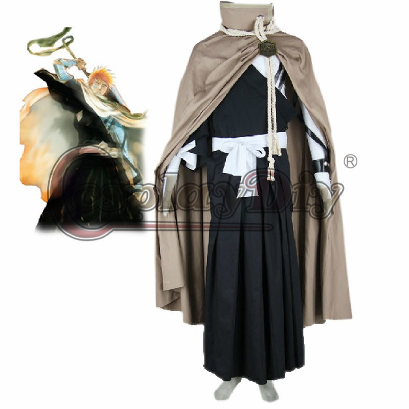 Bleach Ichigo Kurosaki Shihoin Squad Costume  Adult Halloween Cosplay Costume Custom Made  D0301
