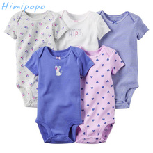 Himipopo 5 Pieces/lot Baby Boy Bodysuit Infant Jumpsuit Overall Short Sleeve Body Suit Baby Clothing Set Newborn Summer Clothes