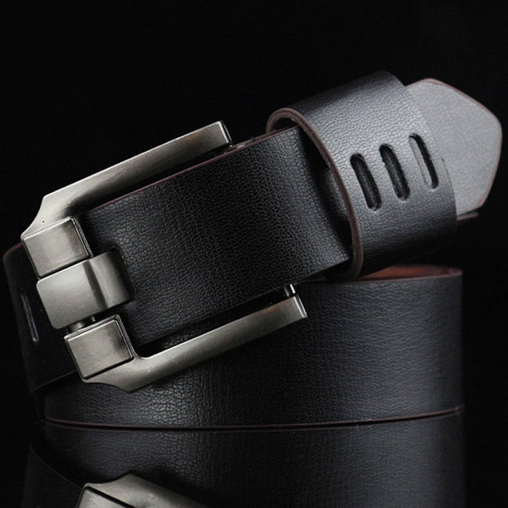 110cm New 2018 Men's Leather Hollow Brown   Belt   Men Luxury Alloy Wide Coffee   Belts