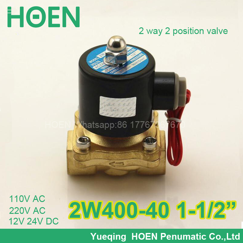 2W400-40 Normally closed 2/2 way 1-1/2 inch pneumatic solenoid valve water air gas oil brass valve NBR DC AC 12V 24V 110V 220V 3 4 solenoid valve normally closed npsm 12v dc slim brass electric solenoid valve gas water air 2 way 2 position valves
