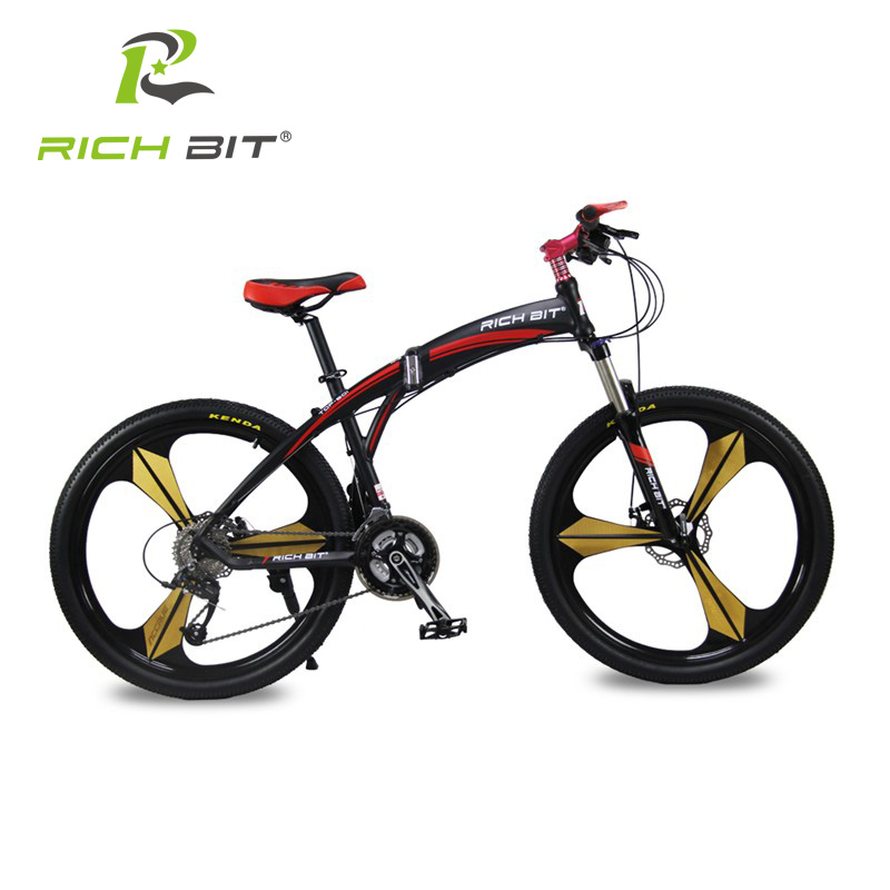 buy richbit high quality aluminum folding bicycle 27 speeds mountain bike dual. Black Bedroom Furniture Sets. Home Design Ideas