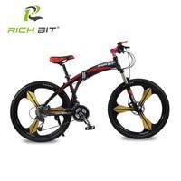 Richbit High Quality Aluminum Folding Bicycle 27 Speeds Mountain Bike Dual Disc Brakes Variable Speeds Road