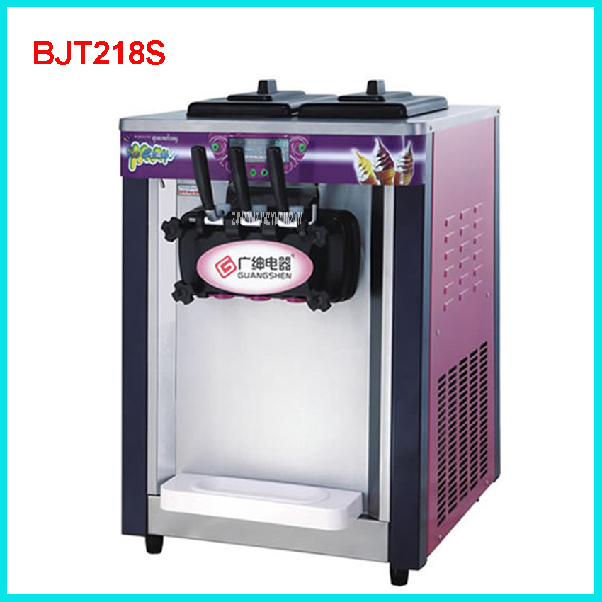 BJT218S Commercial Soft Ice Cream Machine 1800W 220V/50 Hz Ice Cream Maker 18-20L / H 3 Flavors Yogurt Cylinder volume  5.8L * 2
