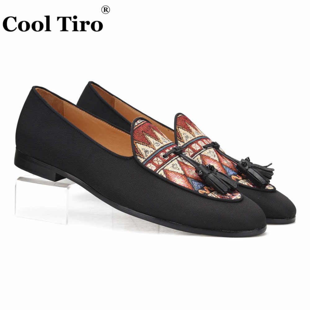 Cool Tiro Black Jacquard Canvas Loafers Men Slippers Tassels Moccasins Man Flats Wedding Men's Dress Shoes slip on Casual Shoes