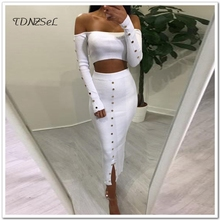 Women Sexy Cotton Long Skirts 2 Two Piece Sets Long Sleeve Strapless Crop Tops High Waist Skinny Pencil Skirt Outfit Clothes