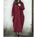 Women Thick Dress Vintage Long Cotton Padded Maxi Dresses Plus Size Vestidos Chinese Robe Feminina Winter  Dress
