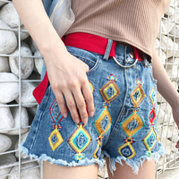 2018 Summer Female Candy Hole High Waist Solid Casual Cotton Sexy Short Pants Jean Shorts Vintage