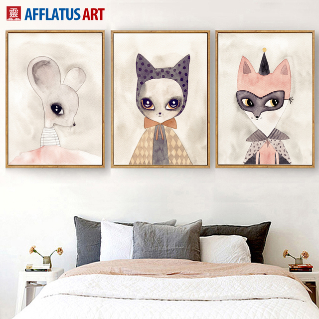 Afflatus cartoon fox nordic poster wall art canvas painting posters and prints nursery wall pictures for