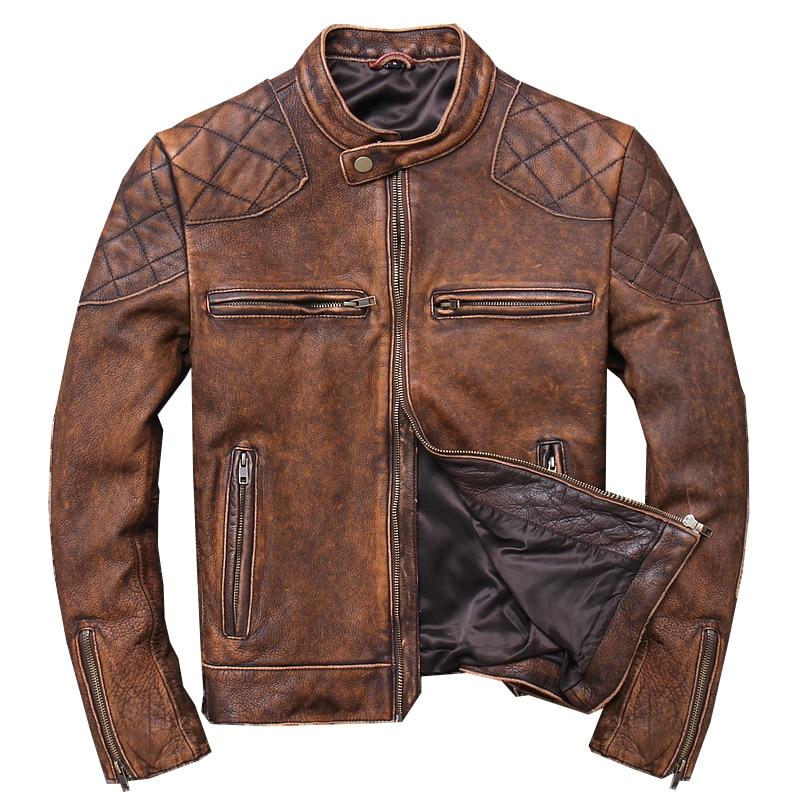 2019 Do Vintage Marrom Homens Jaqueta de Couro De Motociclista Curto Plus Size XXXL Primavera Couro Genuíno Slim Fit Brasão Da Motocicleta LIVRE GRÁTIS