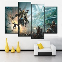 Canvas Painting Home Decorative Wall Art Modular Pictures 4 Panels Titanfall 2 Games Fight Against Poster Modern HD Print Type titanfall 2