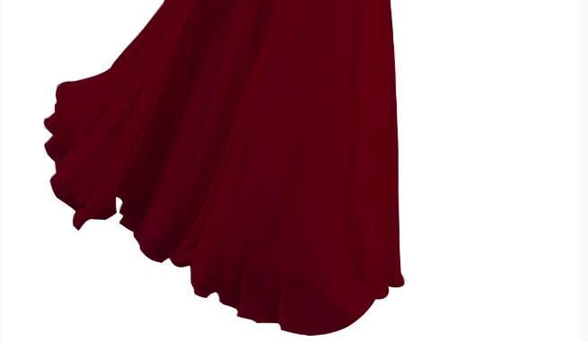 [Распродажа] шифоновое вечернее платье Длинное Элегантное длинное вечернее платье с блестками и бисером на шнуровке сзади милое - Цвет: Wine Red