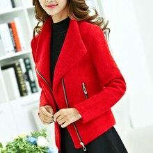 Женская Осенняя красная Толстая шерстяная куртка, женское короткое пальто
