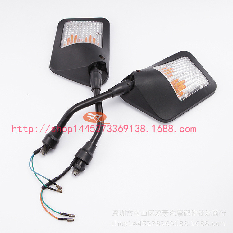 rectangle silver black turn signal light scooter rear view moto side mirror for suzuki honda yamaha motorcycle rearview mirror