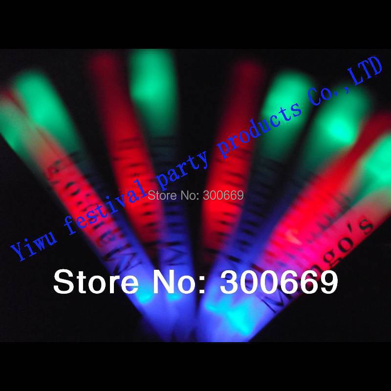 free shipping led light customize logo stick glow stick multicolor with red blue green flash led