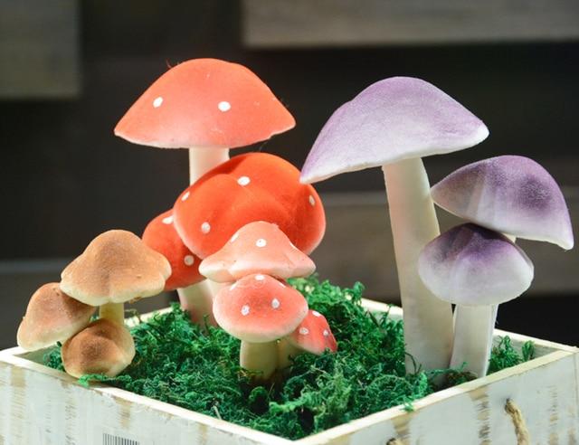 Elegant Imitation Polymeat Artificial Green Plant Household Decoration High  Imitation 3 Head Foam Mushroom