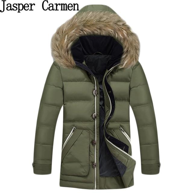 O envio gratuito de 2017 homens jaqueta de inverno casaco homens jaqueta de pato para baixo com capuz de pele parka casaco jaqueta masculina 185HFX