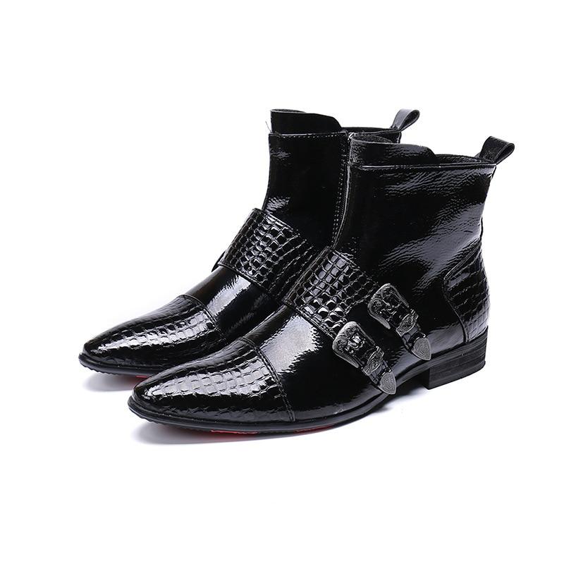 Ankle Metal Couro Apontou Boots Vestido Britânico Novo Negócios Dos Modelo Sapatos Homens De Punk Do Casamento Passarela Fivelas q8xz0E1