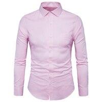 Homens da moda Roupas Casuais Sólida Camisa de Manga Longa Moda Slim Camisas de Vestido dos homens da Festa de Casamento de Negócios Masculino Camisa Rosa Y932