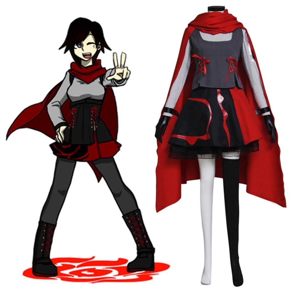 Japanese Anime RWBY Ruby Cosplay Costume Women/'s Dress Outfits Uniform Halloween