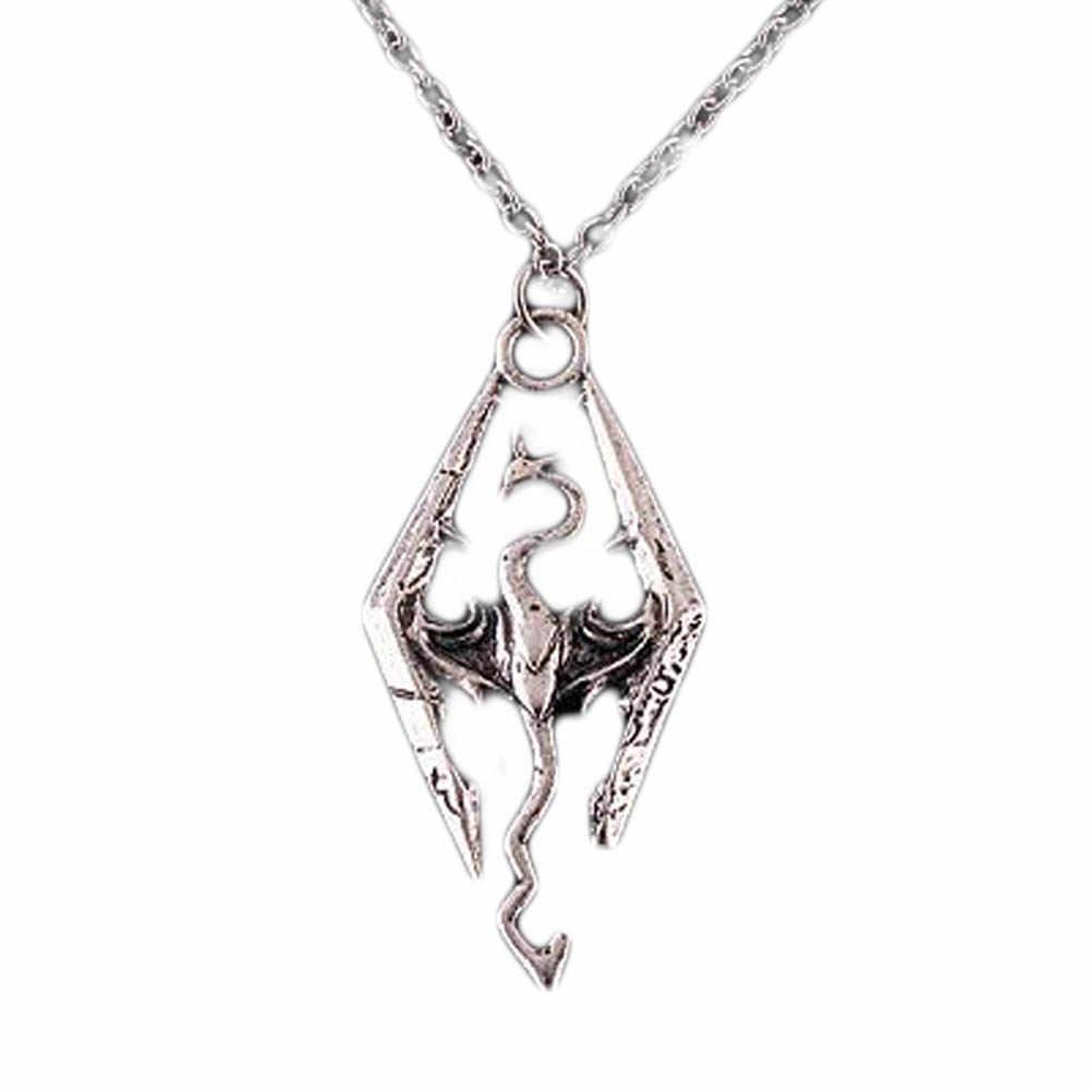 ร้อนขายไดโนเสาร์จี้สร้อยคอ Skyrim Elder Scrolls Dragon จี้สร้อยคอ Vintage สำหรับชาย/หญิงเครื่องประดับ