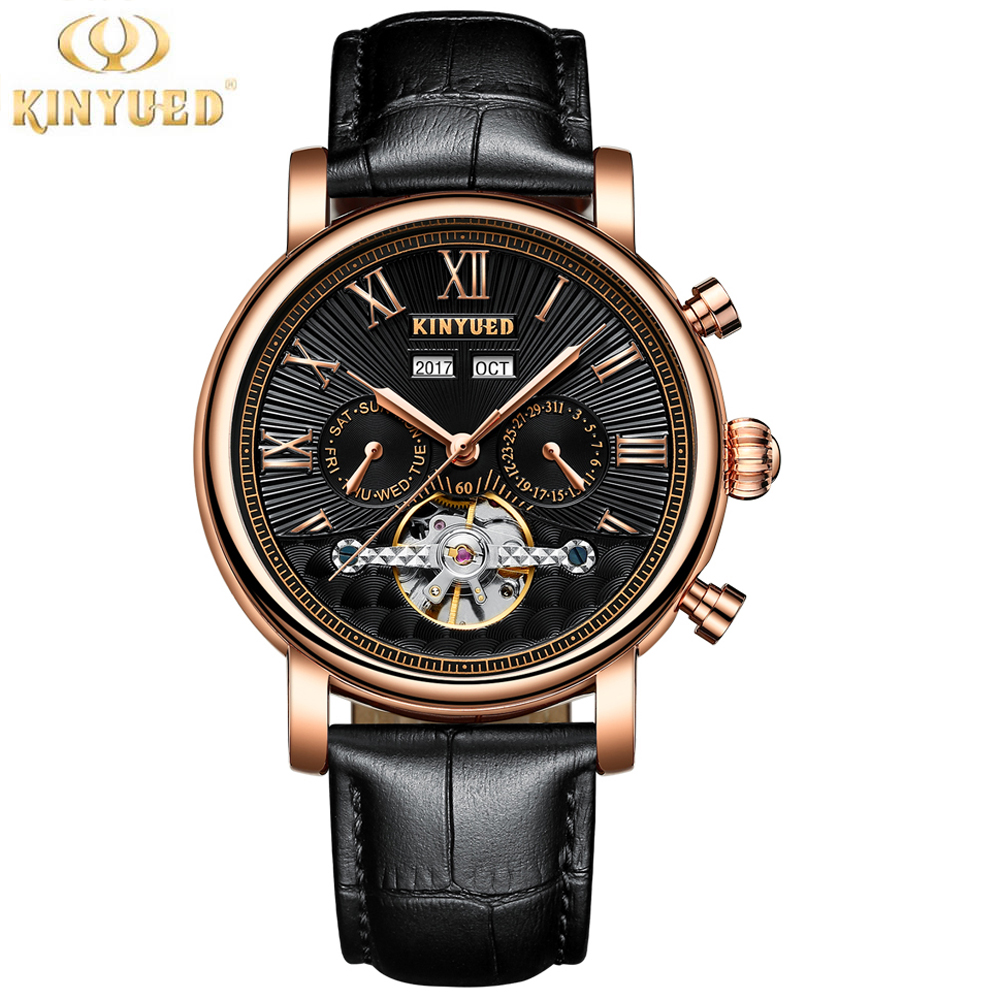 KINYUED Mens Watches Top Brand Luxury Automatic Fashion Watch Genuine Leather Band Tourbillion Display Calendar Mechanical Watch