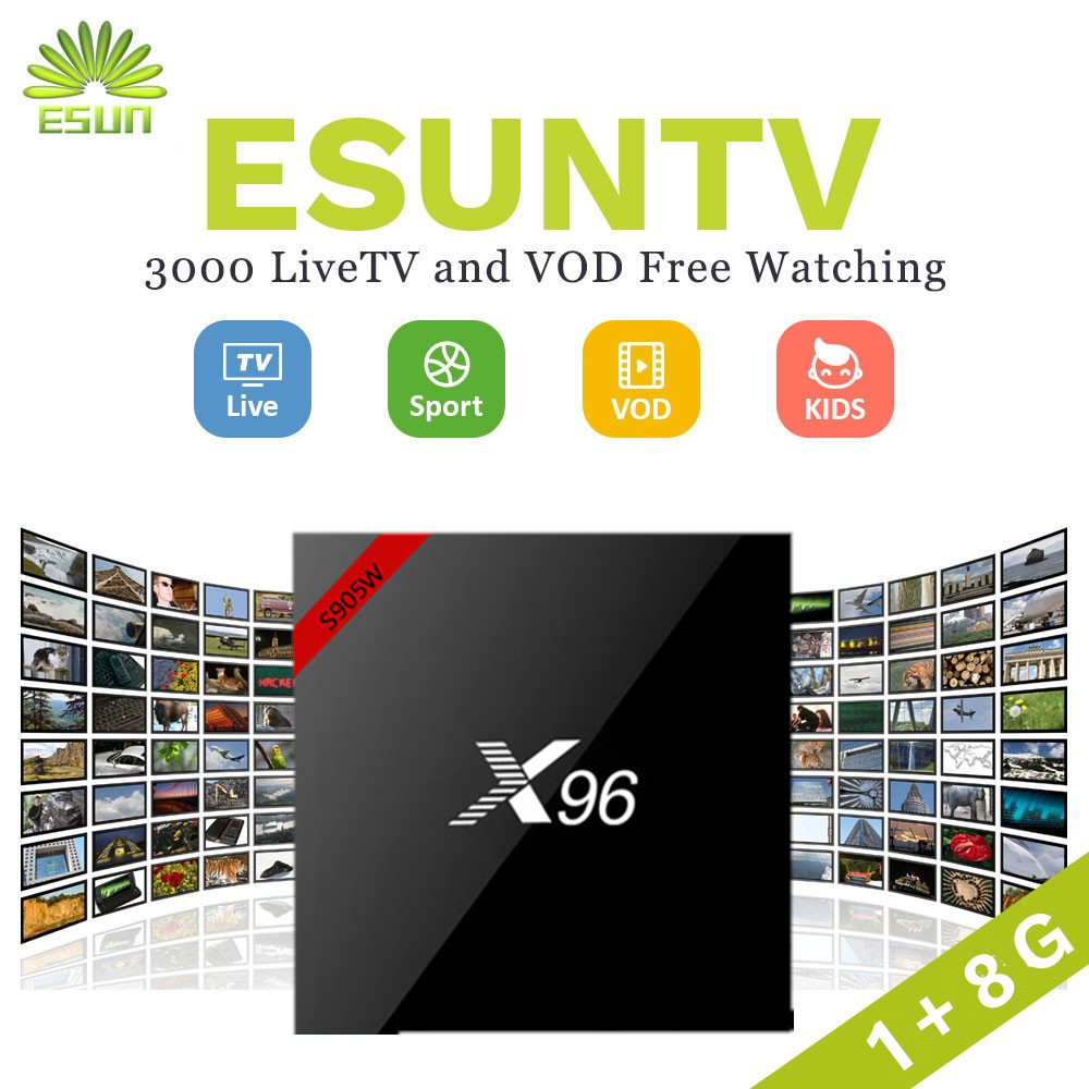 ESUNTV X96 Android 7 1 amlogic S905W 1G 8G With 1 Year IPTV Configured Europe Spain