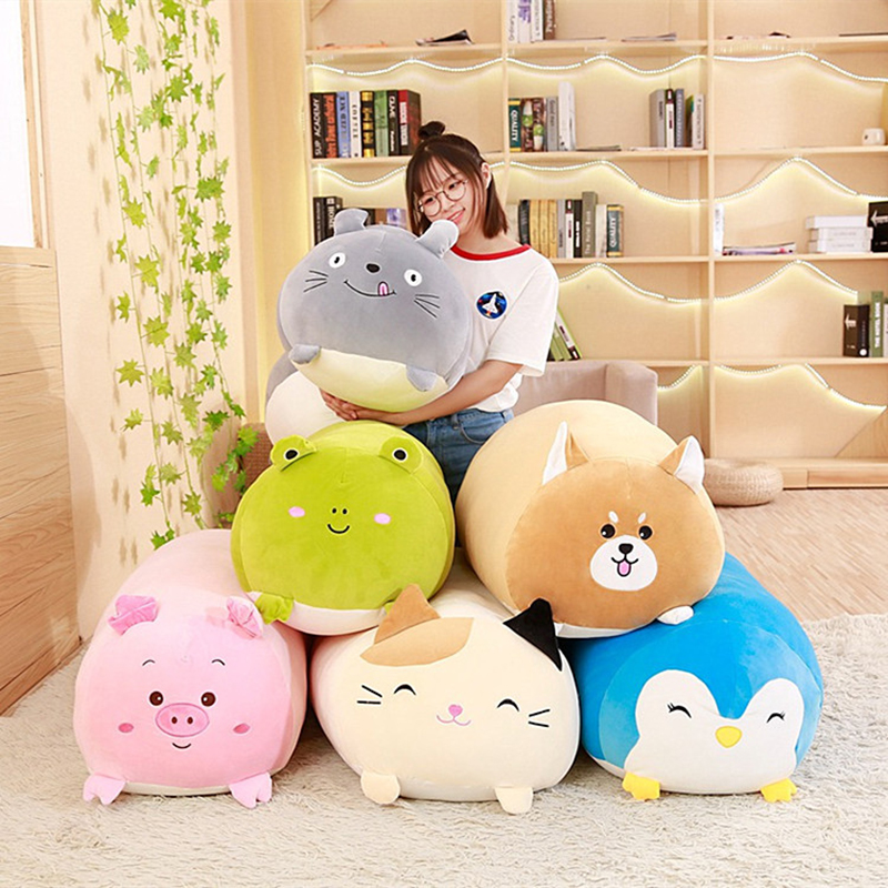 2020 New Soft Animal Cartoon Pillow Cushion Cute Fat Dog Cat Totoro Penguin Pig Frog Plush Toy Stuffed Shiba Kids Birthday Gift