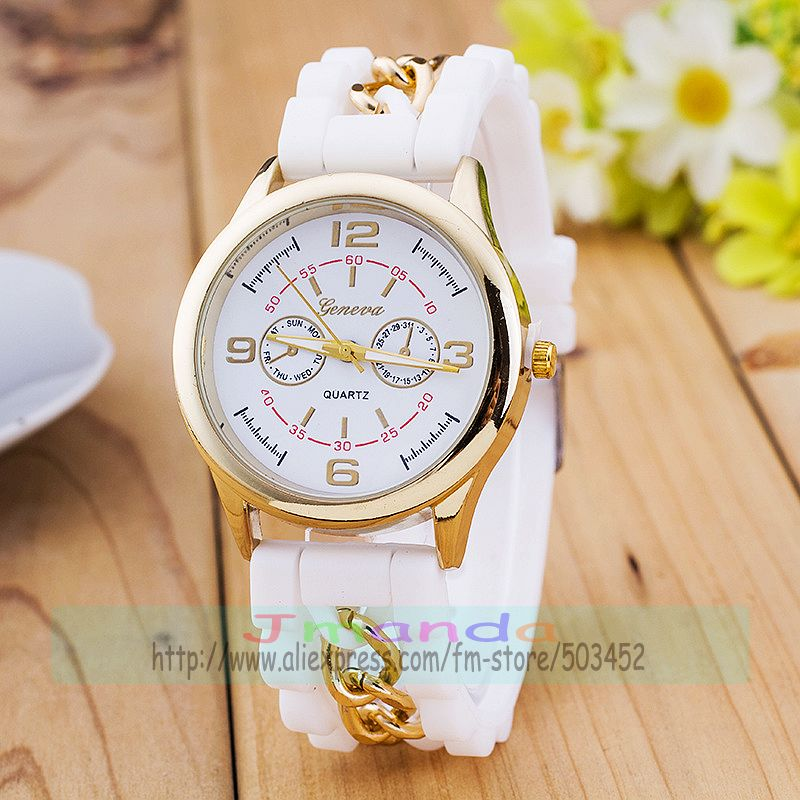 100pcs Lot Fashion Geneva Silicone Watch Gold Case Candy Colors Wrist