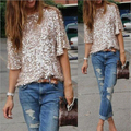 New 2016 Top Lady Tank Womens 3/4 Sleeve Sequin Coctail Party Glitter Sparkle Blouse One Shoulder Tops