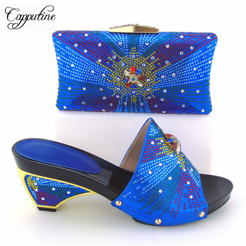 Italian Desgin Rhinestone Shoes And Bag Set New Fashion High Heels Shoes And Bag Set For Party Free Shipping Black Color capputine new arrival fashion shoes and bag set high quality italian style woman high heels shoes and bags set for wedding party