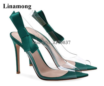 Women New Design Open Toe PVC Bowtie Thin Heel Pumps Cut-out Transparent Green Silver High Heels Formal Dress Shoes