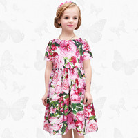 Brand Costume Girls Christmas Dress With Abstract Floral Print Dress Girl Novelty Girls Dresses Winter