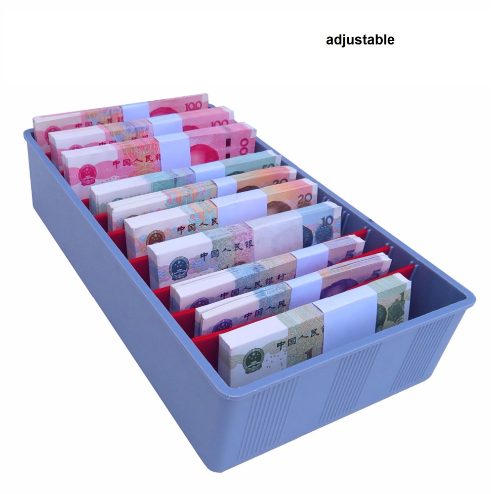 Money Counter Case Cash Tray Drawer Register Insert Tray Replacement Plastic Bills Coins Compartments Money Storage Box Store