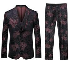 Best Quality mens 3 Piece Set ( men suit Jacket+Pant+Vest ) Wedding men Floral Pattern Blazer Jacket with Waistcoat and Trousers vintage floral pattern velveteen panel waistcoat