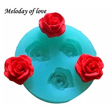 3D Rose flowers chocolate wedding cake decorating tools 3D baking fondant silicone mold used to easily create poured sugar T0157(China)
