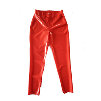 Latex 100% Rubber Men Red Trousers With Zipper 0.4mm Rubber Latex Cool Size XXS XXL