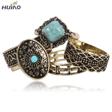 (5pcs/set) Vintage Style Antique Silver Blue Turquoise Round Geometric Finger Ring Sets for Women Fashion