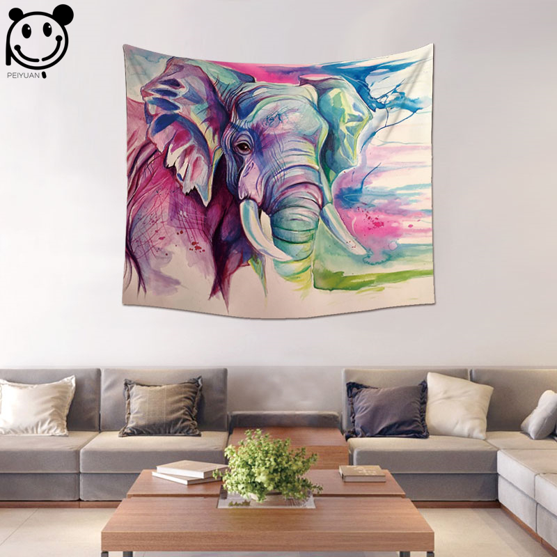 PEIYUAN Home Decorative India Mandala Colorful Elephant Panda Skull Dog Flamingo Tapestry Wall Hanging Table Cloth Tapestry