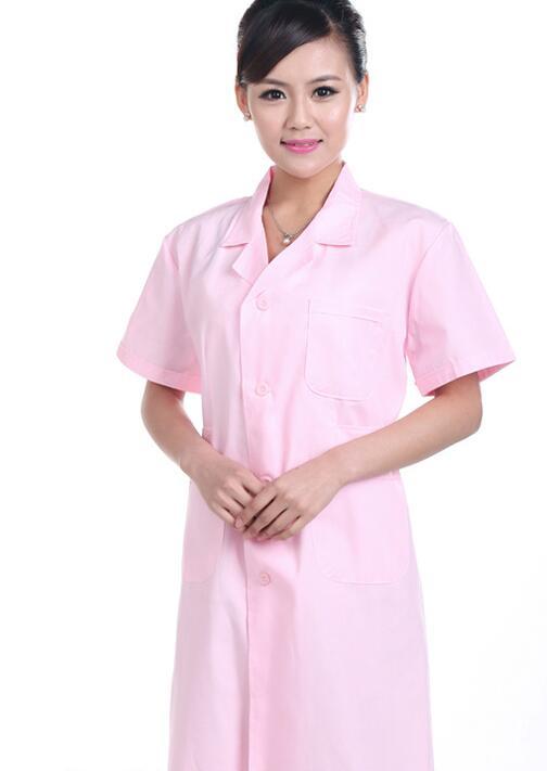 Белая короткая женская униформа для медсестры, больничная медицинская униформа, одежда, скрабы, униформа для гостиничного бизнеса, женские лабораторные пальто, униформа 90 - Цвет: Women Pink