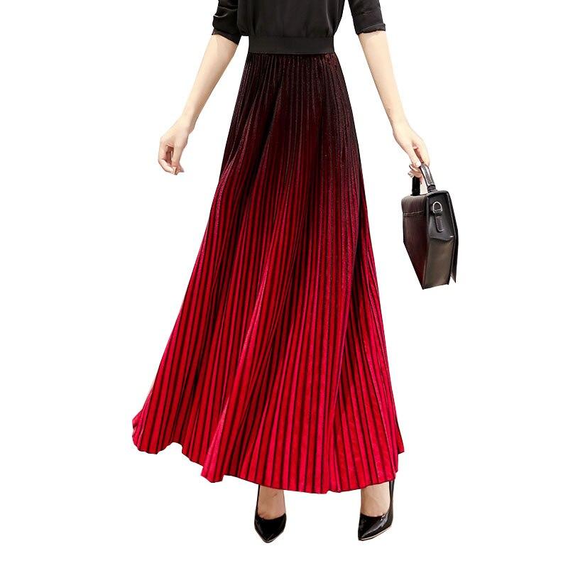 red Maxi Chaud Hiver Autuwn Velours V31 Jupe Longue Femelle Femmes Couleur Green 2018 Taille Haute 5xl La Gradient Plus Élégant Plissée xR0A7nq