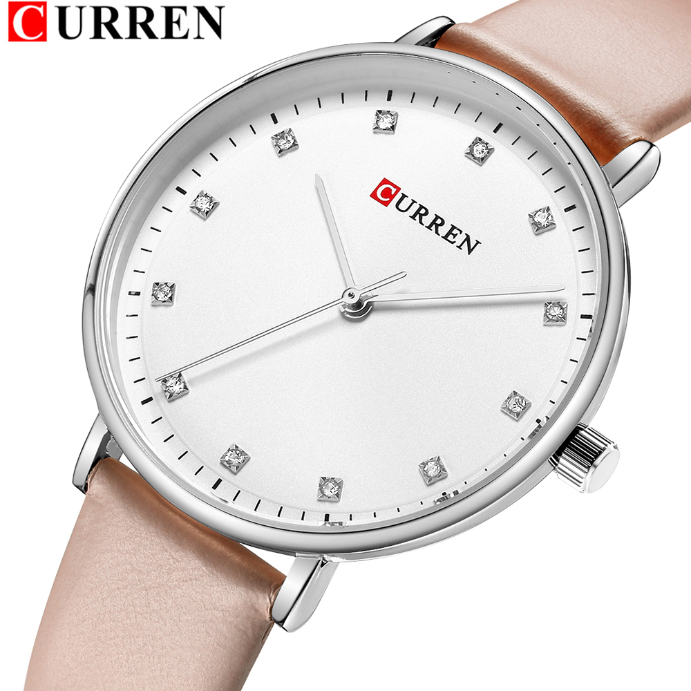 Simple Fashion Diamond Quartz Watches Womens Elegant Ladies Wrist Watch Female Clock CURREN Leather Watch For Women Reloj Mujer