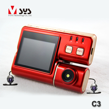 C3 Dual waterproof lens with led light rear view camera for motorcycle sport