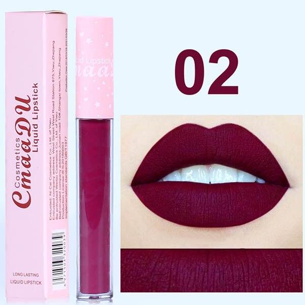 CmaaDu 6 Color Pink Tube Matte Liquid Lipstick Waterproof Loong lasting Pigment Nude Velvet Lip Gloss Makeup Beauty Red Lip Tint in Lip Gloss from Beauty Health