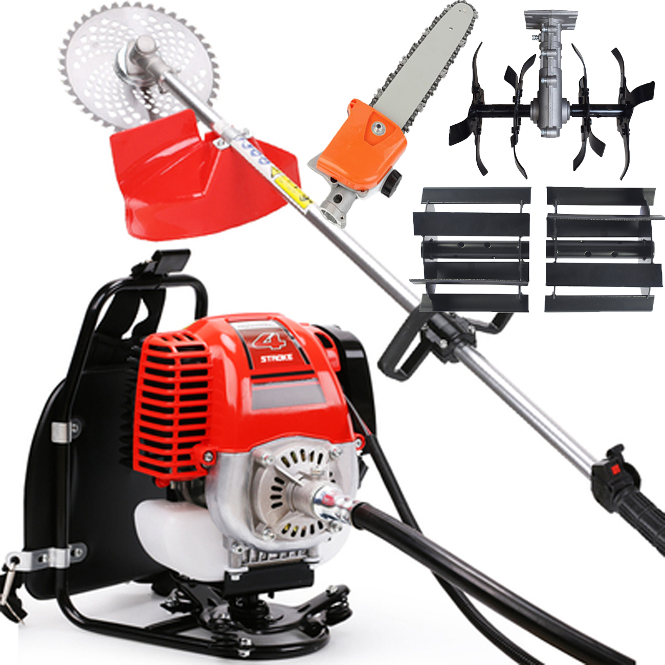 Multi function brush cutter Agricultural harvester Garden Tools Grass cutter Trimmer Mower Sawing trees weeding loosening
