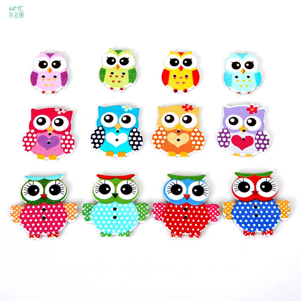 Multi-size 50pcs/bag 2 Holes Wood Sewing Button Owl Mixed Color Sewing Accessories DIY Craft Scrapbooking Making