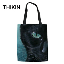 THIKIN 3D Black Cat Print Canvas Tote Bags for Teenagers Cute Animals Book Customize Ladies Foldable Shopping Bag Wholesale