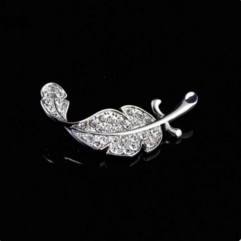 Fashion Luxury Crystal feather brooch Full of crystal leaves brooch foliage brooch cloth accessories Charming Jewelry Gift