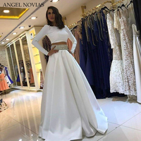 Long Sleeves 2 Pieces Evening Dress 2018 White kaftan Dubai Formal Evening Gowns Dresses Vestido Formatura Longo